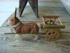 Antique Rabbit Candy Container Paper Mache Composition + Wood Cart CA: 1900's
