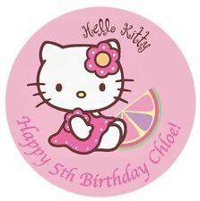 """Hello Kitty Rosa Personalizado X1 Comestibles Pastel De Cumpleaños Topper Glaseado Hoja De 7.5 """""""