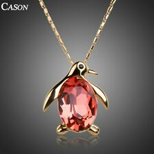 Fashion Red Penguin Chain Pendant Austrian Crystal Yellow Gold Plated Necklace