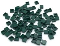 Lego 100 New Dark Green Tiles 1 x 1 with Groove Flat Smooth Pieces