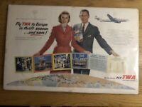 1954 Fly Twa Europa Lockhead Revista Anuncio 21x13 Línea Aérea