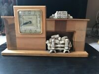 Vintage Mid Century or Deco ~ Electric Fireplace Clock by United Clock Corp & WH