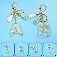 A-Z Alphabet Letter Tassel Acrylic Keychains Bag Charm Keyrings Pendants Gifts