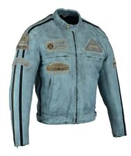 Veste En Cuir Moto Homme,Bleu  Vintage, Cafe Racer, Lederjacke, Retro, Rocker