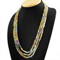 Beautiful 3 Strand 751.00 Cts Earth Mined Multicolor Fluorite Beads Necklace