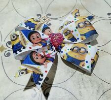 3inches dispicable me pin Wheel Hair Bows Alligator Clip Pink heart minions