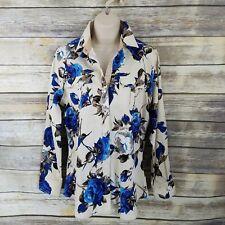 Moy Ferreti NWT Vtg Size L Western Pearl Snap Shirt Ivory Blue Rose Print Cowgir