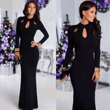 Women Long Maxi Dress Lace Patchwork Dress Sexy Party Black Dress