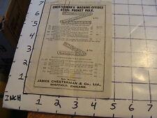 Vintage paper: chesterman's machine-divided Steel Pocket Rule price list ENGLAND