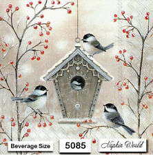(5085) TWO Individual Paper BEVERAGE / COCKTAIL Decoupage Napkins - BIRD HOUSE
