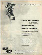PUBLICITE ADVERTISING 095  1961  EDF GDF  l'eau chaude
