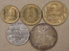 Yugoslavia 1938 5 Coins 50 Para,Dinar,2 Dinara,10 Dinara,+20 Dinara Unc-BU as Pi