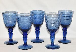 Vintage Mikasa Tender Leaves Blue Wine Glasses Goblets Drinking Glasses 5PCS