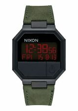 New Nixon Re-run Leather Watch All Black Green