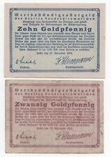 GERMANY HEIDE 10 & 20 GOLDPFENNIG 1923 NOTGELD EMERGENCY MONEY LOOK SCANS