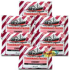 6x Fisherman's Friend Cherry Menthol Sugar Free Lozenges Sweeteners 25g
