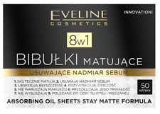 EVELINE 8IN1 ABSORBING OIL SHEETS MATTIFYING BLOTTING PAPERS ABSORB SEBUM 50PC