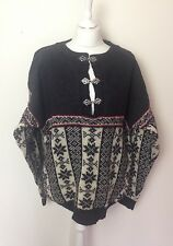 VTG UNISEX NORWEGIAN WOOL WINTER AZTEC BOUVIAC CLASP JUMPER VGC UK M/L