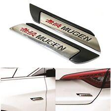 2x 3D Aluminum Mugen Black Car Truck Badge Fender Body Emblem Decal Sticker