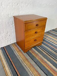 Vintage Meredew Wooden 3 Drawer Bedside Cabinet