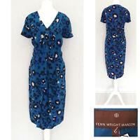Fenn Wright Manson Dress 12 Blue 100% SILK Midi Short Sleeve Wedding NEW £169