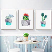 HO_ BL_ Watercolor Green Cactus Plant Canvas Wall Poster Painting Picture Decor