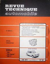 Revue technique SIMCA 1100 SPECIAL TI RTA 331 1974 CARBURATION