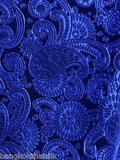 "ROYAL BLUE PAISLEY FLORAL 3D EMBOSSED VELVET 60""W Tablecloth Drape Blouse Skirt"