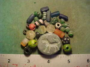 30+ Ancient beads circa 1000 BC- 1700 AD + An ancient stone bi-facial seal