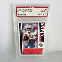 Peyton Manning 1998 Upper Deck Choice PSA 9 Mint Rookie Card #193