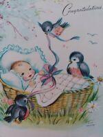 Vtg BABY Basket.BLUEBIRDS Eva Harta Artist Pollyanna CONGRATS GREETING CARD