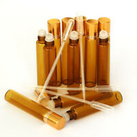 (10+5)PCS Amber 1/3 oz 10ml Glass Roll On Bottles With Gold Cap Roller + Dropper