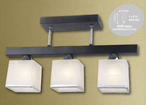 3 Way Ceiling Light Lamp Chandelier White Cubical Glass Caps in Matt Black