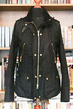 £229 Ladies Barbour International black wax biker jacket size UK 10 US 6 EU 36