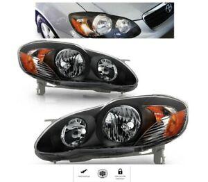 For Toyota Corolla Year 2003 to 2008 Black Headlights Set Headlamps Lights pair
