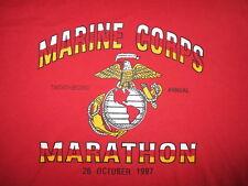 vtg 90s MARINE CORPS MARATHON T SHIRT Semper Fi USMC Running Military Fitness LG