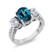 2.80 Ct Oval London Blue Topaz White Topaz 925 Sterling Silver Ring