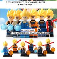 8 pcs Minifigures Dragon Ball Broli Son Goku Torankusu Gogeta Vegeta Lego MOC