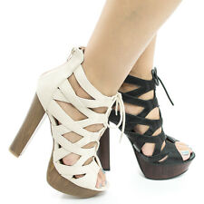 Simple38 Cut Out Corset Lace Up Platform Chunky Block Heel