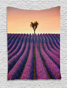 Floral Tapestry Lavender Flowers Field Print Wall Hanging Decor