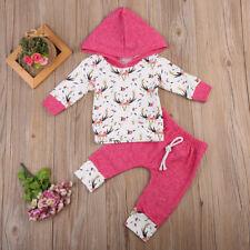 6-12M USA Baby Boy Girl Clothes Hooded Tops+Long Pants Leggings 2pcs Outfits Set