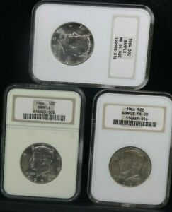 1964 SILVER KENNEDY 50C Sample NGC MS64 / FA00  set of 3