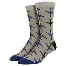 Socksmith Men's Bamboo Crew Socks Airplanes Jet Planes Aircraft Gray Footwear