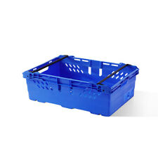 More details for 10x 35 litre – stacking & nesting bale arm plastic storage boxes in blue