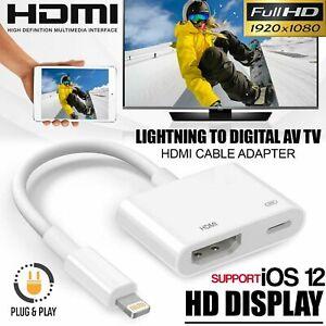 Lightning Vers HDMI Cable Digital Audio Vidéo TV Adaptateur pour iPhone 6 7 8 X