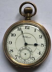 Waltham USA - Taschenuhr vergoldet - seven Jewels - Herren - Werk läuft nicht