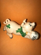 Schmid Bone China Irish Pig Figurine Carrying Xx Whisky Jug St. Patrick's Day