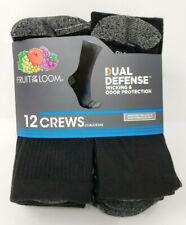 Fruit of the Loom Men's 'Dual Defense' 12 Pair Black Crew Socks, Size 6-12