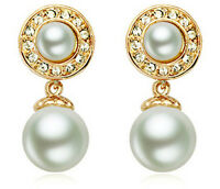 Beautiful Stylish Gold & Cream White Pearl Drop Dangle Earrings Bridal E663