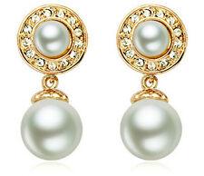 BELLISSIMO Elegante Oro & Cream White Pearl Goccia Pendenti Orecchini Sposa E663